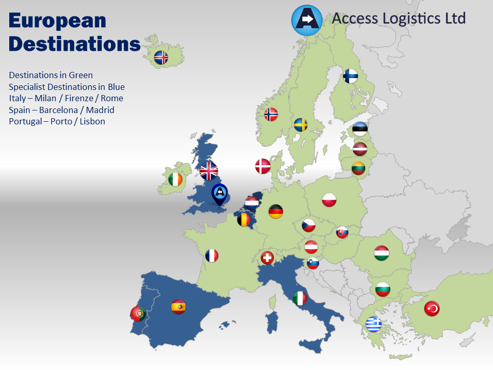 Euopean destinations map
