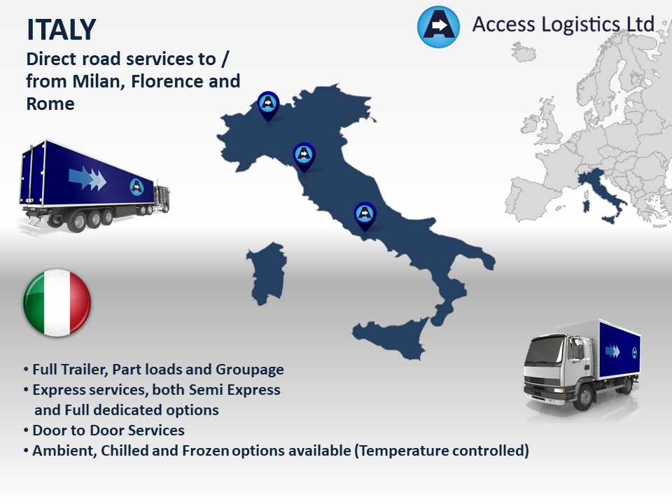 Freight to and from Italy map